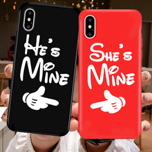 JAMULAR Funny Letter Couple Case For iPhone X XS MAX XR 7 8 6 6s Plus Soft Matte TPU Back Cover Shes Mine Print Phone Shell