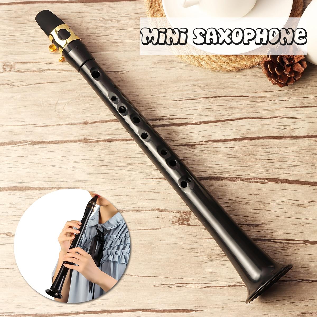 Negro LittleSax Mini Sax portátil C clave saxofón ABS ligero Sax instrumentos musicales con bolsa de transporte para el principiante