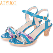 AIYUQI Summer sandals women 2019 new mixed colors fashion mid heel 3 for girls fashionable footwear