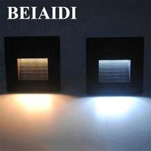 Beiaidi 10 개/몫 3 w led footlight 임베디드 코너 램프 야외 단계 계단 조명 방수 recessed 지 하 매장 된 램프