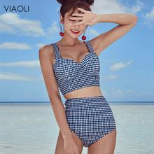 Seksowne bikini krata Halter kobiety strój kąpielowy bandażowy strój kąpielowy drukuj bikini skrzyżowane zestaw wysokiej talii strój kąpielowy strój kąpielowy strój kąpielowy tanie tanio Dwa Kawałki Pływać Poliester spandex WOMEN Plaid 2018877 Pasuje prawda na wymiar weź swój normalny rozmiar VIAOLI