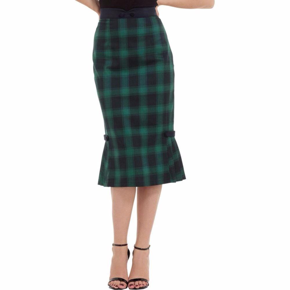 40- women vintage 40s Agnes Tartan Pencil Skirt in Green elegant faldas  plus size plaid 57dbef2cec1a