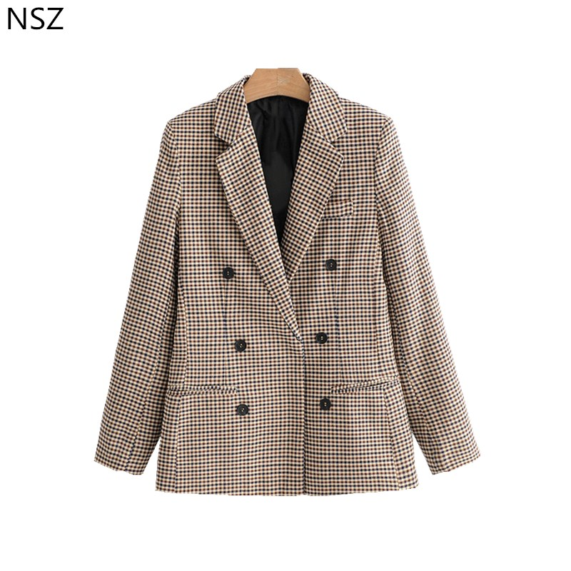 Nsz Women Plaid Blazer Long Sleeve Double Breasted Slim Checked Coat Formal Jacket Office Suit Lady Outerwear Sprint Autumn