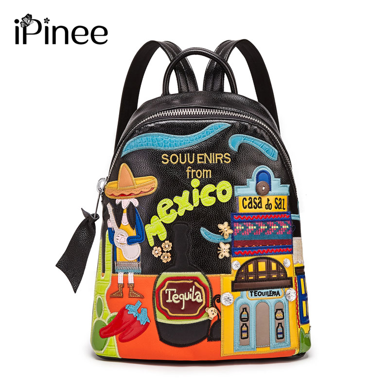 IPinee Designer Cartoon Middle School Bags Female High Quality PU Leather Laptop Backpacks For Teenage Girls