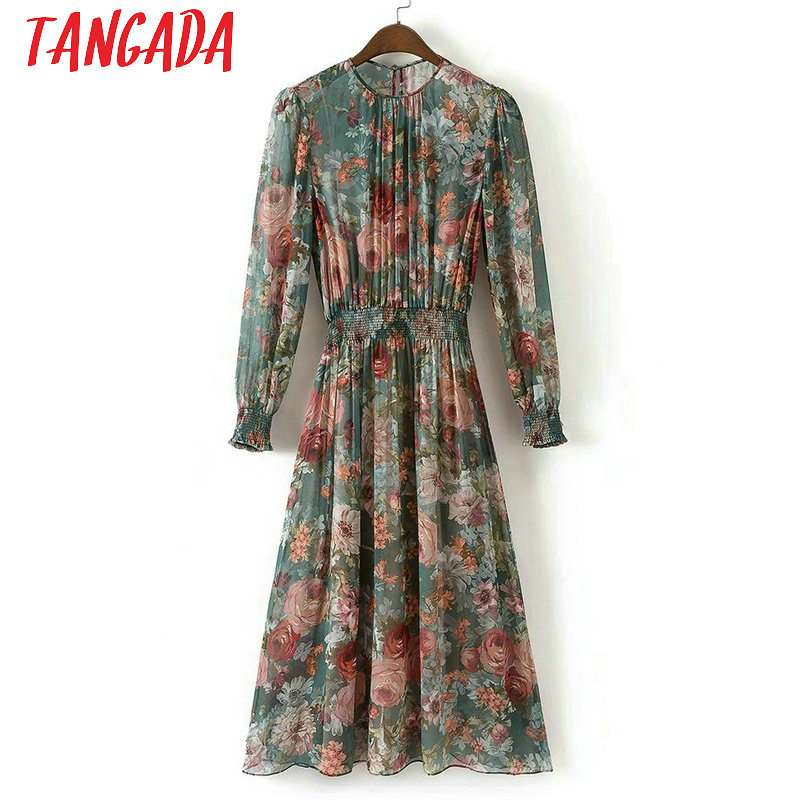 Tangada Fashion Women Floral Print Mid Dress Elastic Waist Long Sleeve O-neck Two Pieces Set Vintage Brand Vestidos XD40