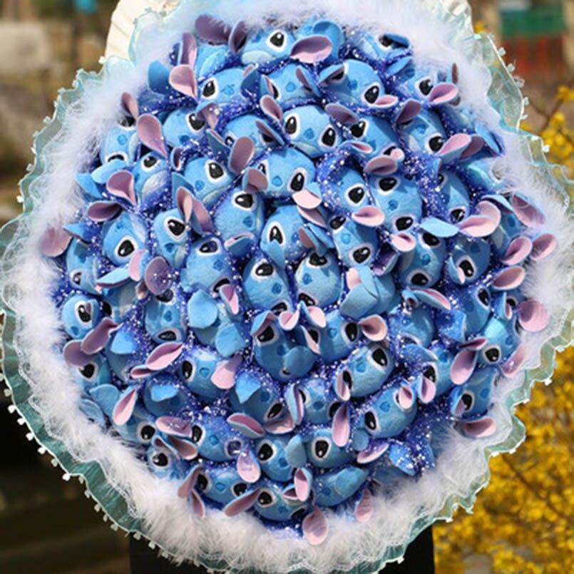 36 pièces point Bouquet peluche Kawaii dessin animé en peluche animaux jouets artificiels fausses fleurs saint valentin cadeaux pour fille