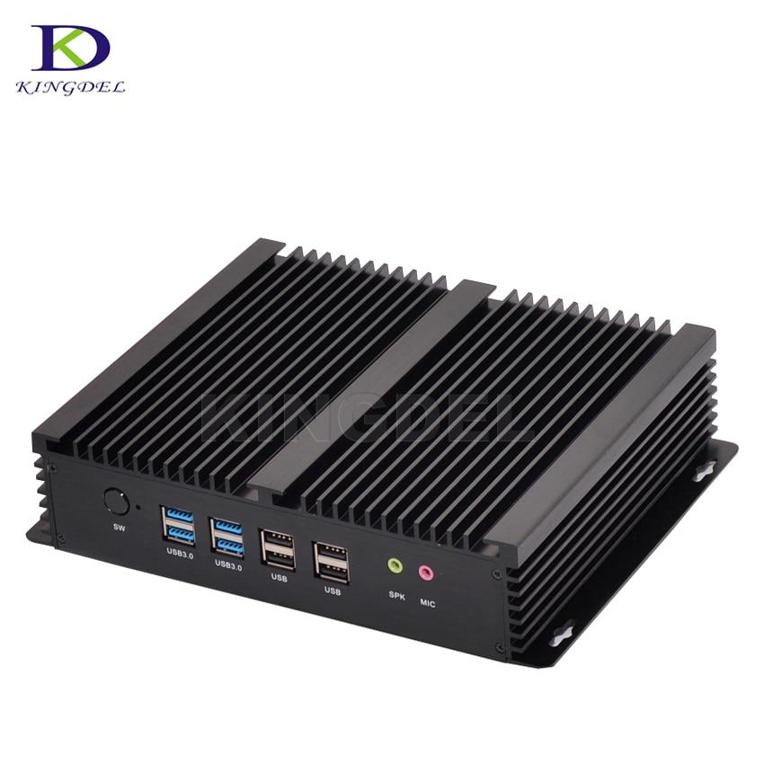 Fanless Barebone Mini PC Core I7 4500U I3 4010U Windows 10 Rugged ITX Case Embedded Industrial Computer 2 LAN HDMI 6 COM Nettop