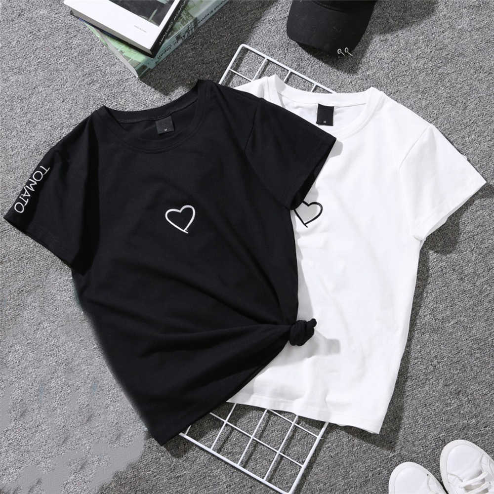 Simple versatile short sleeve Hong Kong wind T-shirt unisex embroidery love summer tees half sleeve letter large size lovers