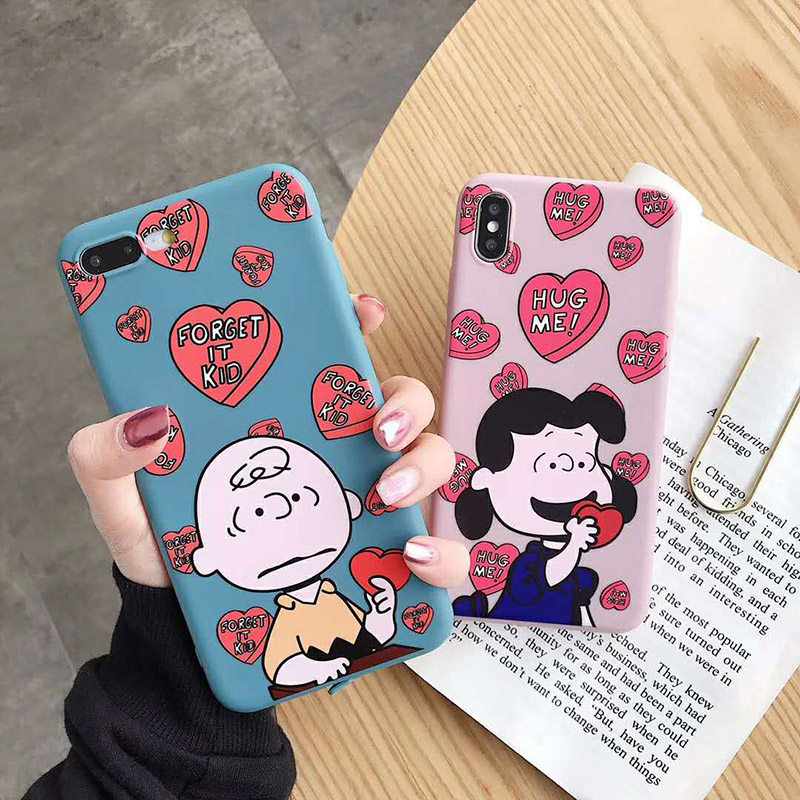 Cartoon Peanut Charlie dog phone <font><b>case</b></font> For iphone7 <font><b>case</b></font> Pink love <font><b>heart</b></font> Soft silicone cover For iphone6 <font><b>6s</b></font> 7 8plus x xr xs max image