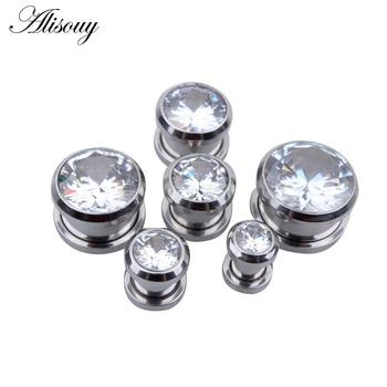 Alisouy 1 par moda cristal Zircon oreja joyería plug & Tunnel Acero inoxidable tornillo oreja expansores joyería del cuerpo para hombres mujeres