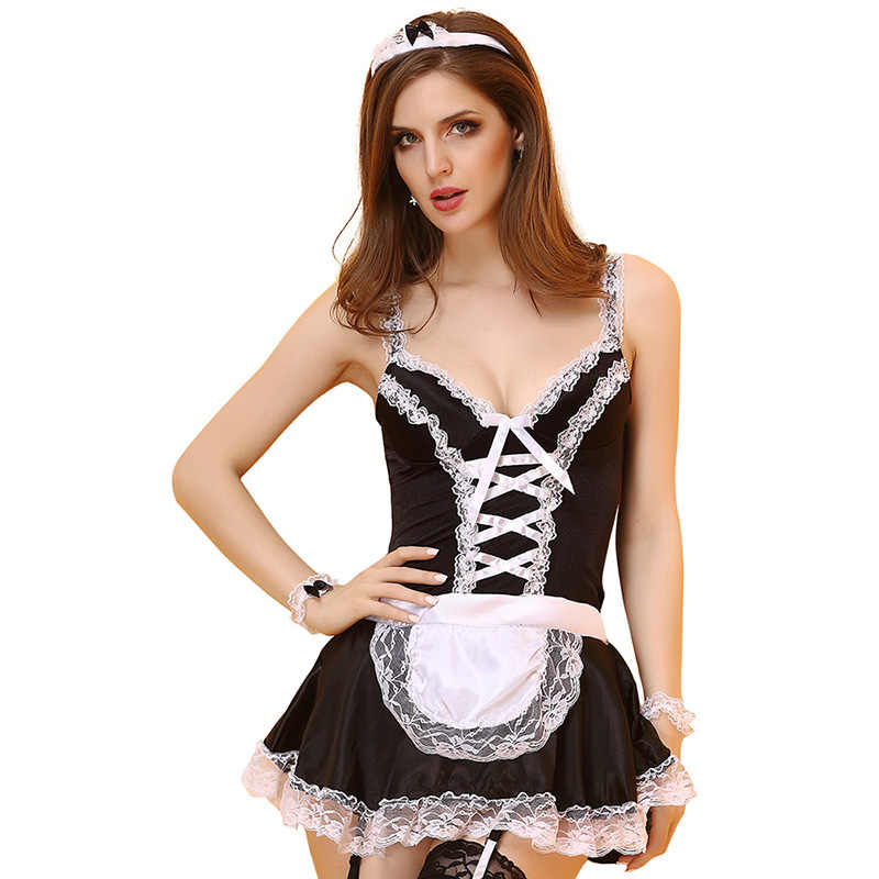 accd38dd7e49 Adult Women Halloween Sexy Maid Costume Ladies Black Strap Low Lace Dress  Short Erotic Cosplay Outfit