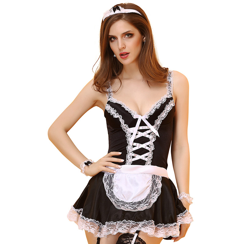 Adult <font><b>Women</b></font> <font><b>Halloween</b></font> <font><b>Sexy</b></font> Maid <font><b>Costume</b></font> Ladies Black Strap Low Lace Dress Short Erotic Cosplay Outfit <font><b>For</b></font> Girls Plus Size XXL image