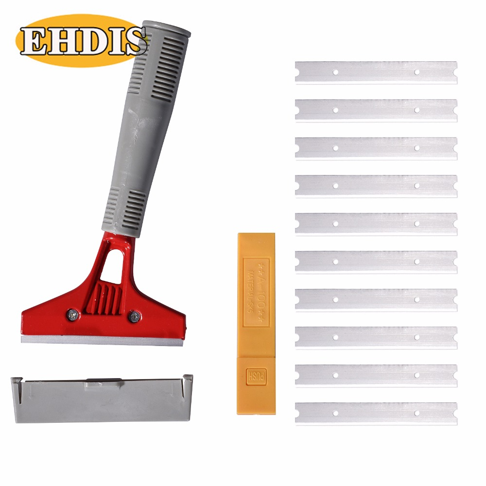 EHDIS Old Car Stickers Film Glue Remover Razor Scraper Household Cleaning Tool Vinyl Wrap Steel Shovel+10Pcs Metal Blades Cutter