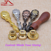 Individual Customized Sealing Wax Stamp With Custom Made Logo Design Classic Metal Wooden Handle Stamp