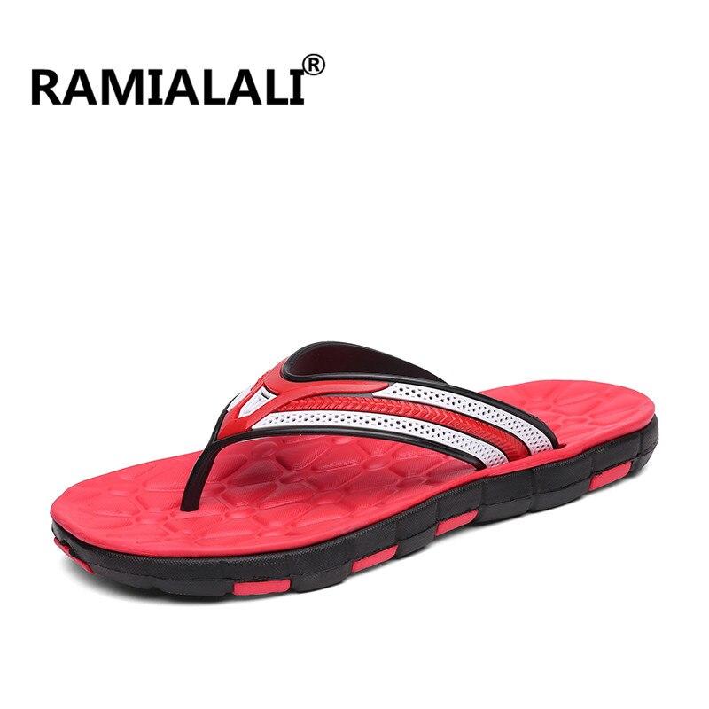 Ramialali/; мужские шлепанцы; летние шлепанцы; дышащая мужская обувь; модные сандалии; мужские вьетнамки; Повседневная обувь; большие размеры 40-45 - Цвет: BLACK RED