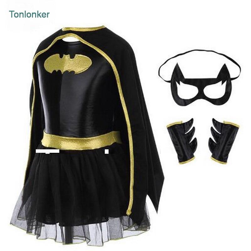 Tonlinker Batman Kids Girls Tutu Dress Superhero Capes Halloween Christmas Cosplay Party Costume Wonder Woman Superman Children
