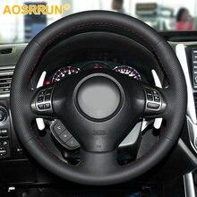 สีดำหนังHand Stitchedพวงมาลัยรถยนต์พวงมาลัยสำหรับSubaru Forester 2008 2012 Impreza 2008 2011 Legacy 2008 2010 Exiga 2