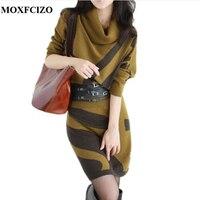 MOXFCIZO Autumn Winter Women Dresses Long Sleeve Knit Sweater Dress Turtleneck Slim Lady Accept Waist Package
