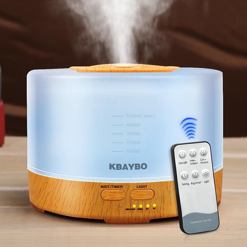 500 ml Fernbedienung Aroma Ätherisches Öl Diffusor Ultraschall Luftbefeuchter mit 4 Timer-einstellungen 7 Farbwechsel Led-lampe K198