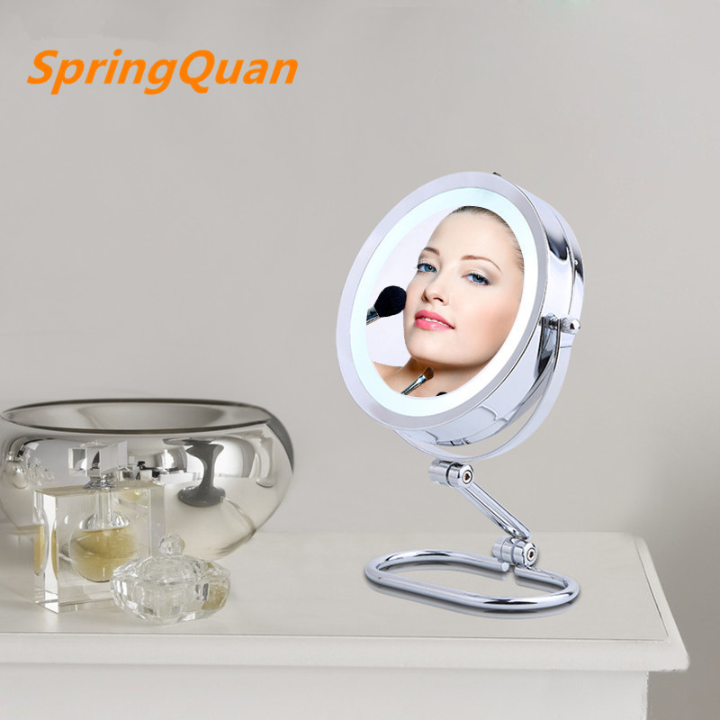 7 inch fashion high-definition with LED desktop makeup mirror  collapsible Double sided mirror 10X magnifying bedroom decoration large 8 inch fashion high definition desktop makeup mirror 2 face metal bathroom mirror 3x magnifying round pin 360 rotating