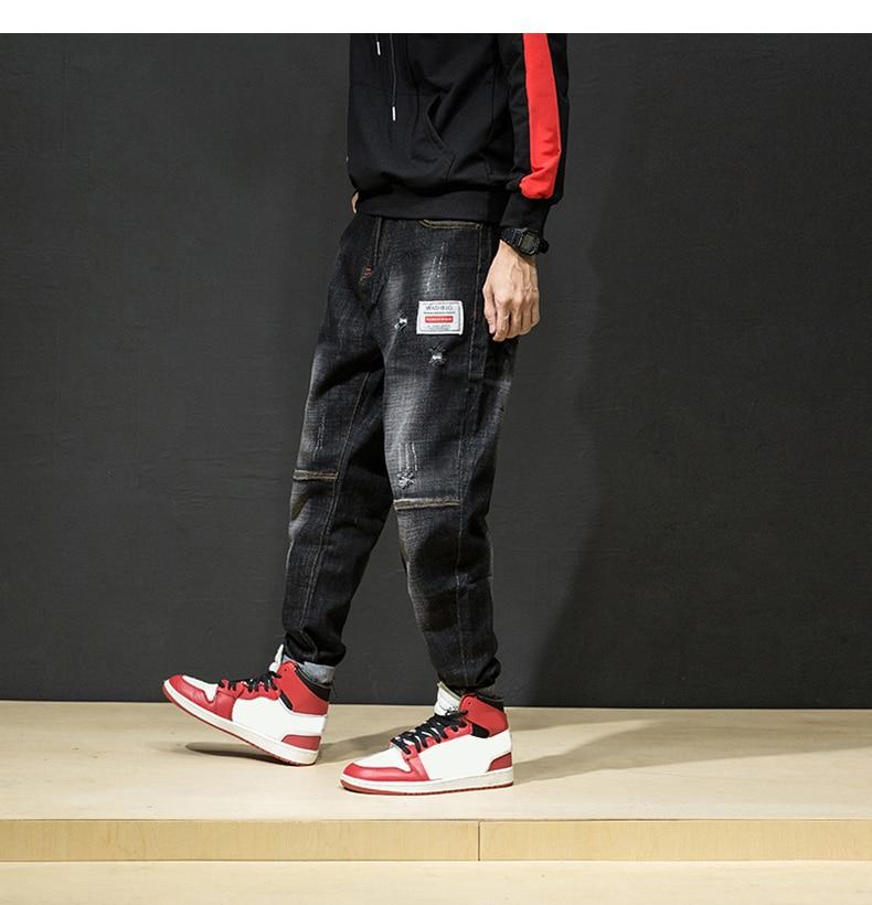 KSTUN Ripped Jeans for Men Haren Pants Loose Wide Leg Cotton Streetwear Hiphop Mens Jeans Black 2018 Clothes Large Size 42 12