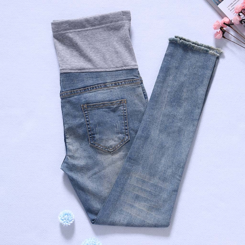 1 Set Pregnant Women Trousers Maternity Belly Band Pregnancy Jeans Blend Cotton Adjust High Quality
