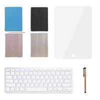 Teclado Bluetooth Para Apple iPad Air 2 Fique Tampa Da Caixa de Couro Inteligente Com Bluetooth Teclado Stylus Pen Protetor de Tela