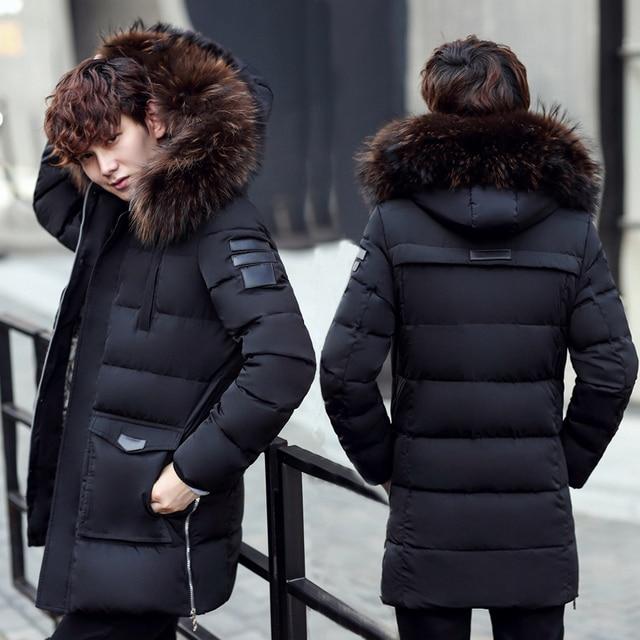 Мужской криогенных хлопчатобумажное пальто, с капюшоном зимняя куртка мужская тяжелой меховой воротник верхняя одежда средней длины теплая парка 1.4 кг