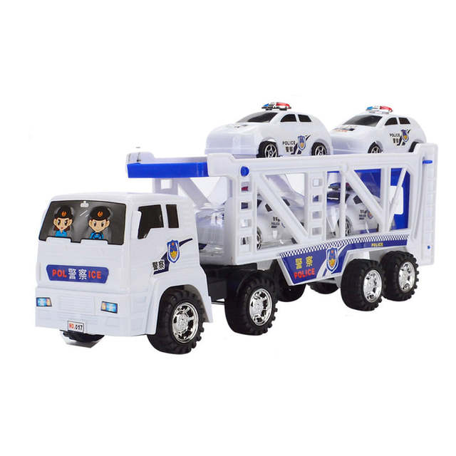 Large Double Deck Trailer With Four Mini Police Cars To Transport