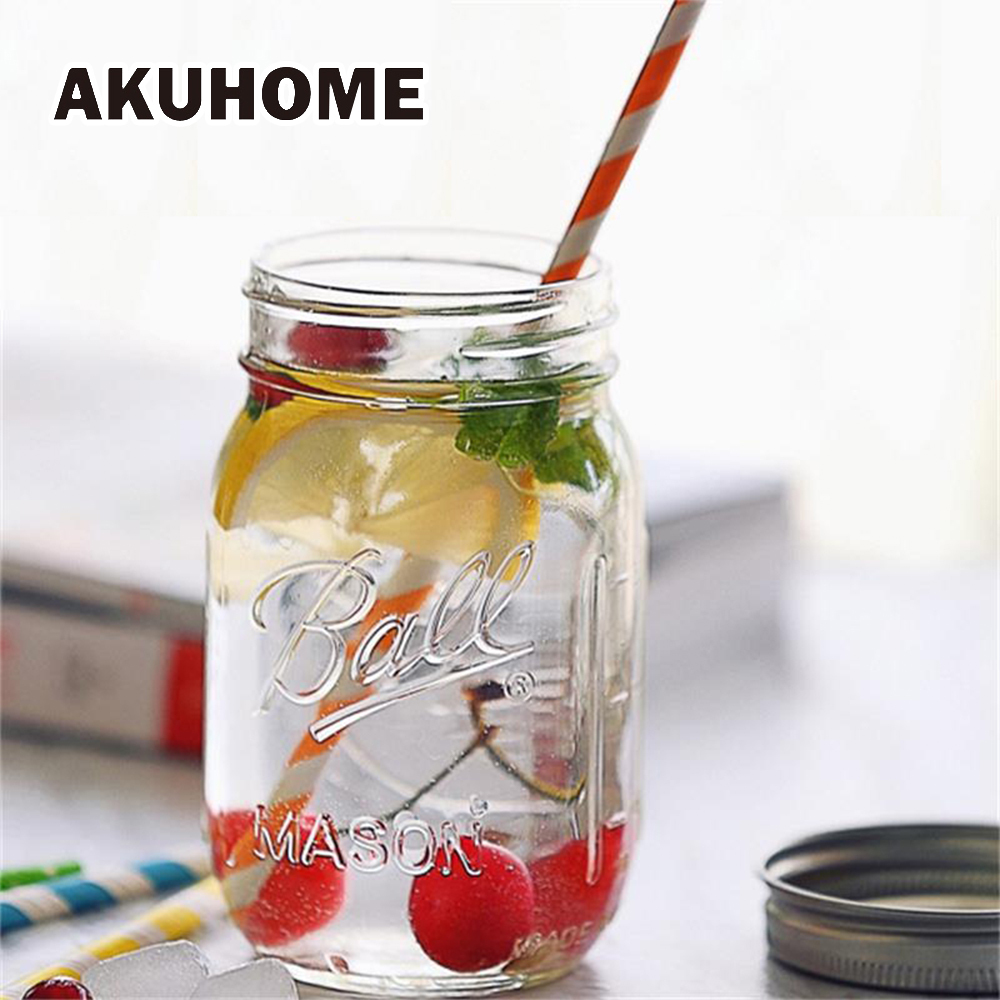 130~780ML Mason Jar glass cup beverage mug with lid straw summer Ice Cream Fruit Cold Drinking Jars juice cup gifts icecream Jar
