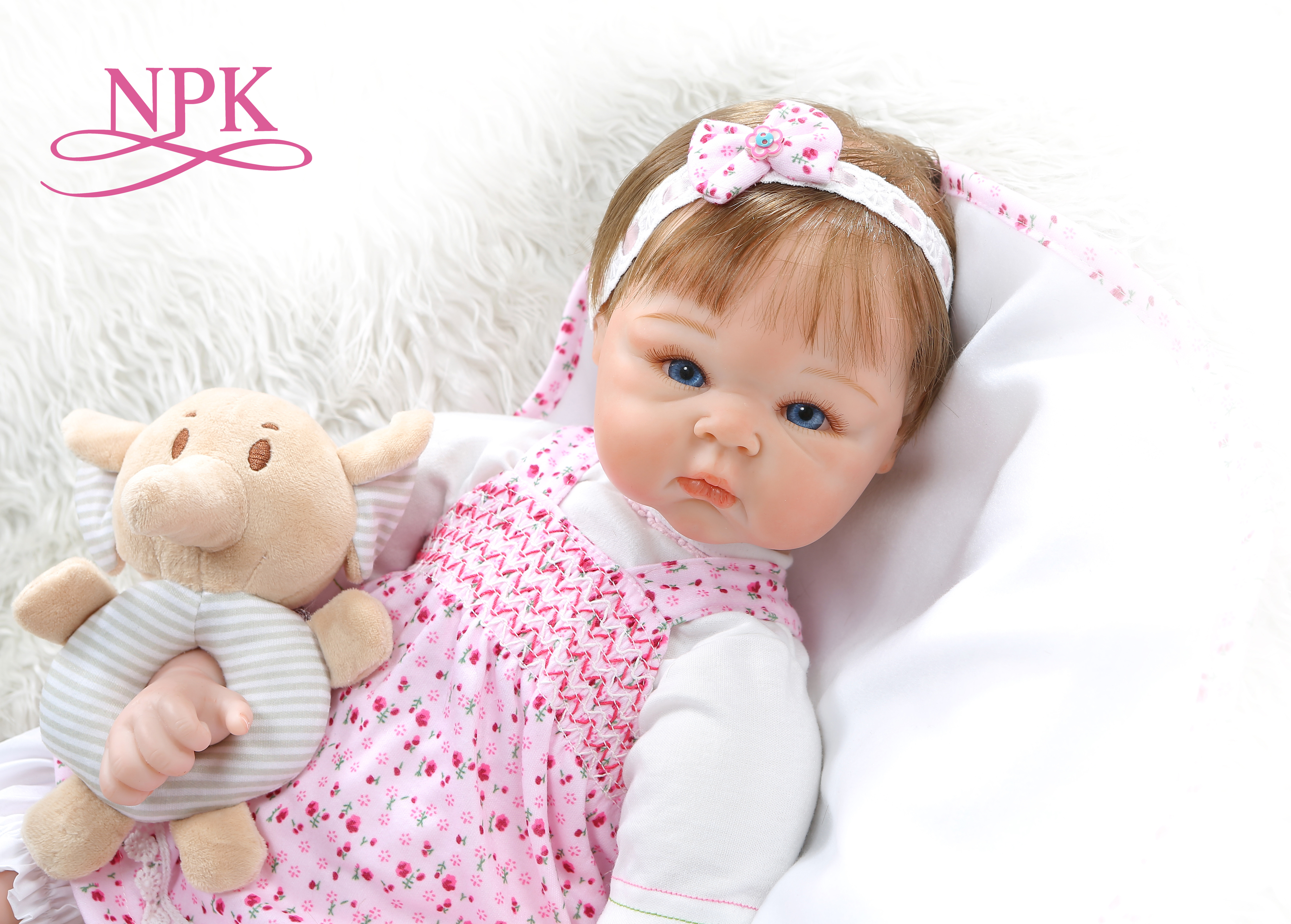 NPK 55CM 0-3Month Real Baby Bebe Realitic Reborn Baby Doll  Lifelike Soft Silicone Baby Girl Doll Weighted Body Rooted Hair