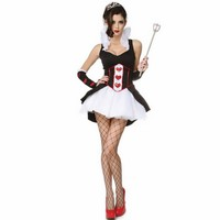 New Popular Beautiful Sleeveless Adult Fantasy Fancy Queen Costume Dress Queen of Hearts Costume White Alice Queen Costume