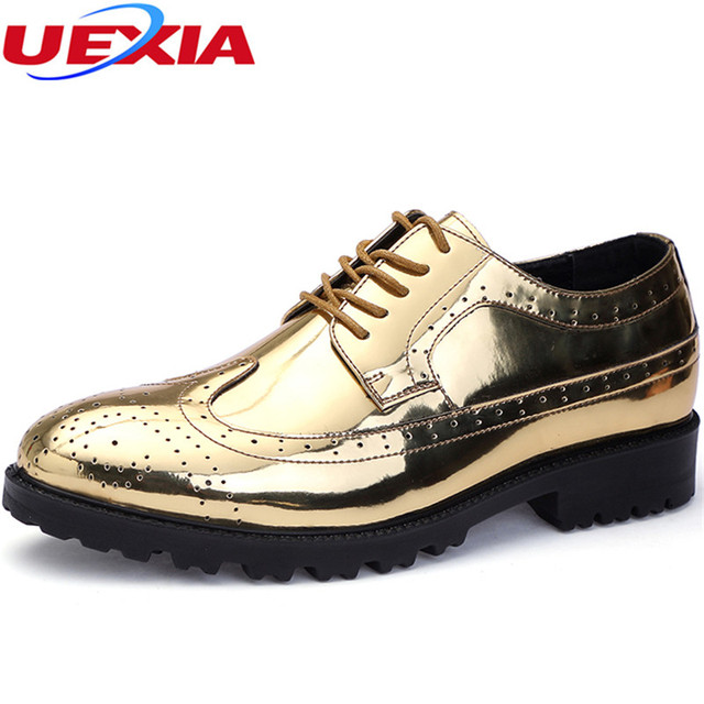 Uexia Luxury Leather Lace Up Men S Dress Shoes Man Formal Party Office Oxfords Gold Silver Flats