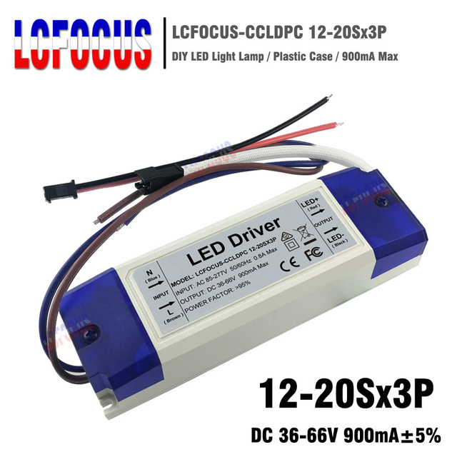 12-20Sx3P LED Driver Output 900mA 36-66V 36 45 48 54 60 W Watt Lighting Transformers Power Supply For DIY Lamp Floodlight