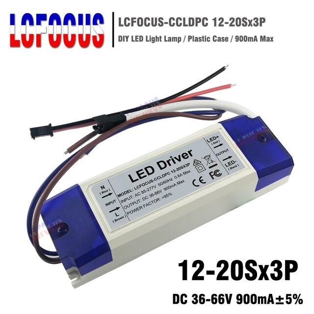 12-20Sx3P Salida de Controlador LED 900mA 36-66 V 36 45 48 54 60 W vatios fuente de alimentación para reflector de lámpara DIY