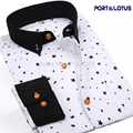 Port&Lotus Men Shirt New Fashion Long Sleeve Polka Dot Star Slim Fit 085 QS Men clothes Chemise Homme Camisa Masculina wholesale