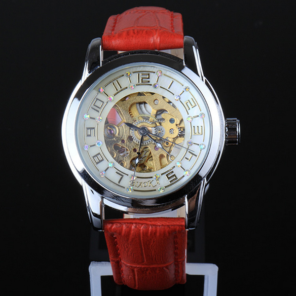 ФОТО Luxury Lady Automatic Mechanical Watch Shell Gear Hollow Dial Women Watches Montre Femme Red White Pu leather Band Clock  LL@17