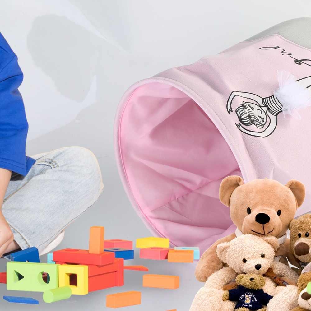 Baldes de Roupa suja Roupa Rosa Sapatos de Ballet Menina Impressão Arco Brinquedos da Casa Organizador Sacos De Armazenamento De Algodão Cesta 35*40 cm