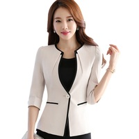 Female career fashion half sleeve women blazer New plus size formal slim jackets office ladies plus size work wear uniform