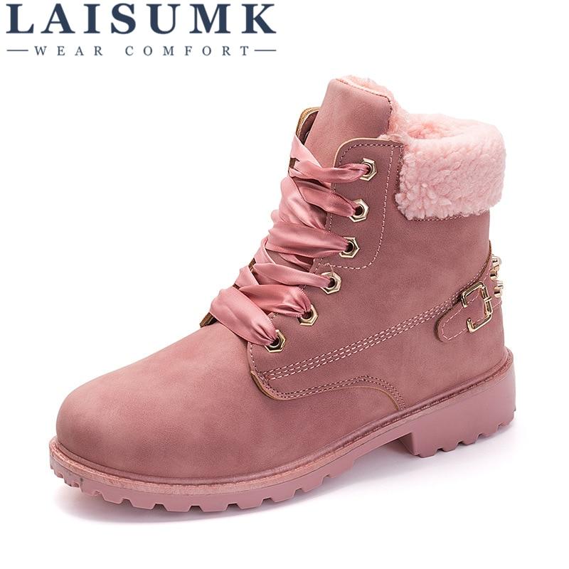 2526228e6b6 Zapatos Frío Invierno Mujer 2018 rosado Felpa Laisumk Las Para amarillo  Caliente Gruesa Botas El Nieve Moda Rosa De Señoras Gris Tobillo wgq5A1F