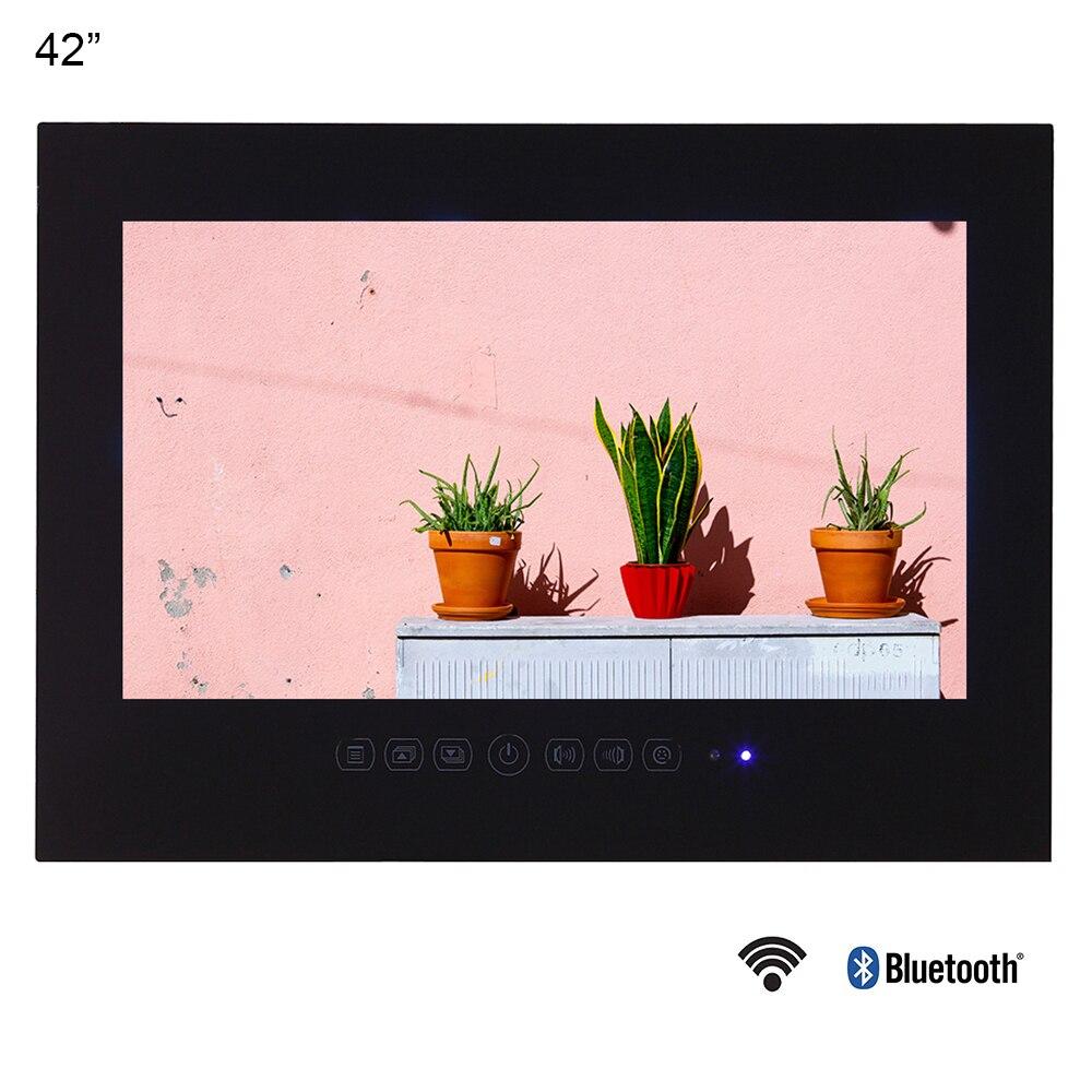Souria 42 pouces Android 9.0 Smart WiFi 1080HD Full HD sans cadre douche télévision Internet salle de bains TV (noir/blanc)