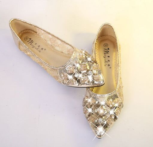 Comfortable women shoes flats gold gauze flat shoes female pointed toe flats  for women shallow mouth flat-bottomed rhinestone cd23c0601