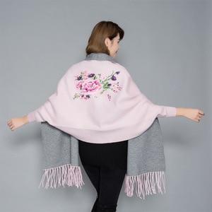Image 4 - Женское пончо с вышивкой, теплое плотное пончо большого размера, мягкое уличное пончо высокого качества для осени и зимы