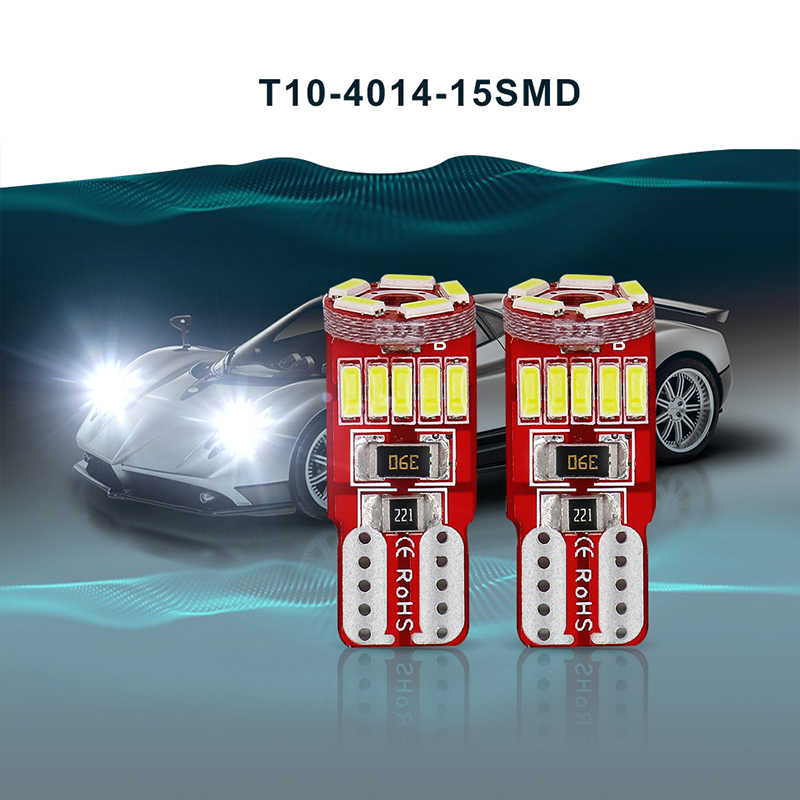 2 PCS 12V LED W5W Canbus T10 Light Bulbs Car Parking Lights Clearance Lamp 194 White 4014 15 SMD Auto Door Trunk Dome LED Bulb
