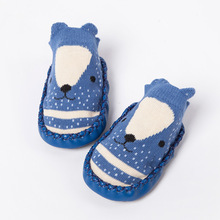 Anti-slip Baby Socks Pu Leather Animals Design Socks Rubber Sole Indoor Floor Socks Shoes for Toddler Boy Girl Learning to Walk