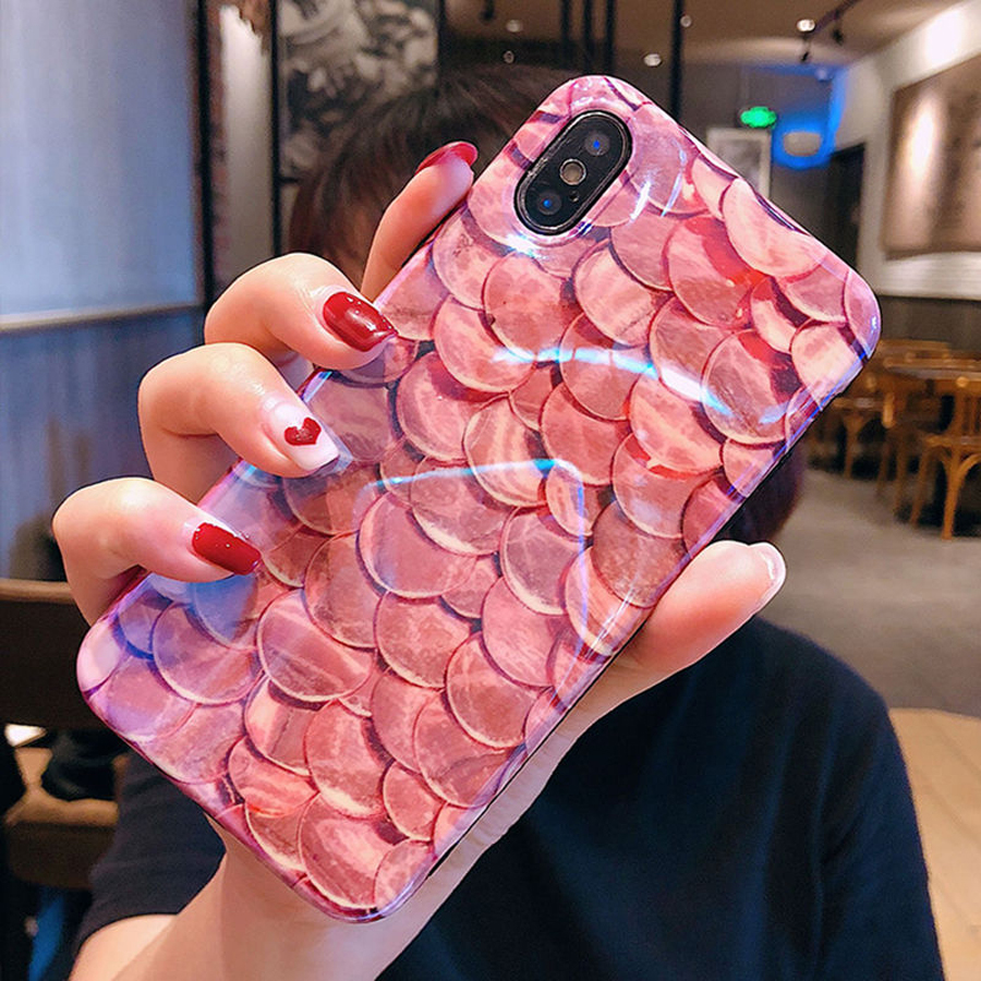 Luxury-Blu-Ray-Fish-Scales-Phone-Case-For-iPhone-6-6S-7-8-Plus-X-Fashion