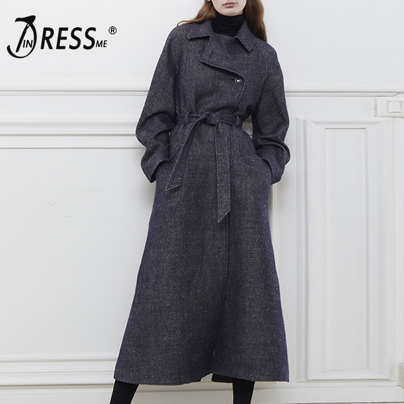 INDRESSME Casual Streetwear Women Lady Long   Trench   Sexy Turn Down Collar Full Sleeve Fashion Double Breasted Sashes Women Coat