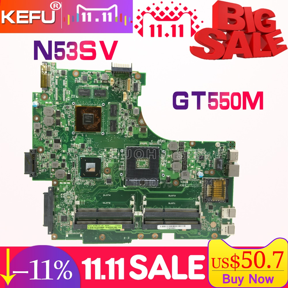SHELI For ASUS N53SV N53S N53SN N53SM GT550M 2GB N12P-GT-A1 laptop motherboard tested 100% work original mainboard laptop motherboard n53sv n53sn for asus n53s n53sn n53sm with geforce gt550m 2g ddr3 4 ram solts rev2 0 2 2 tested ok
