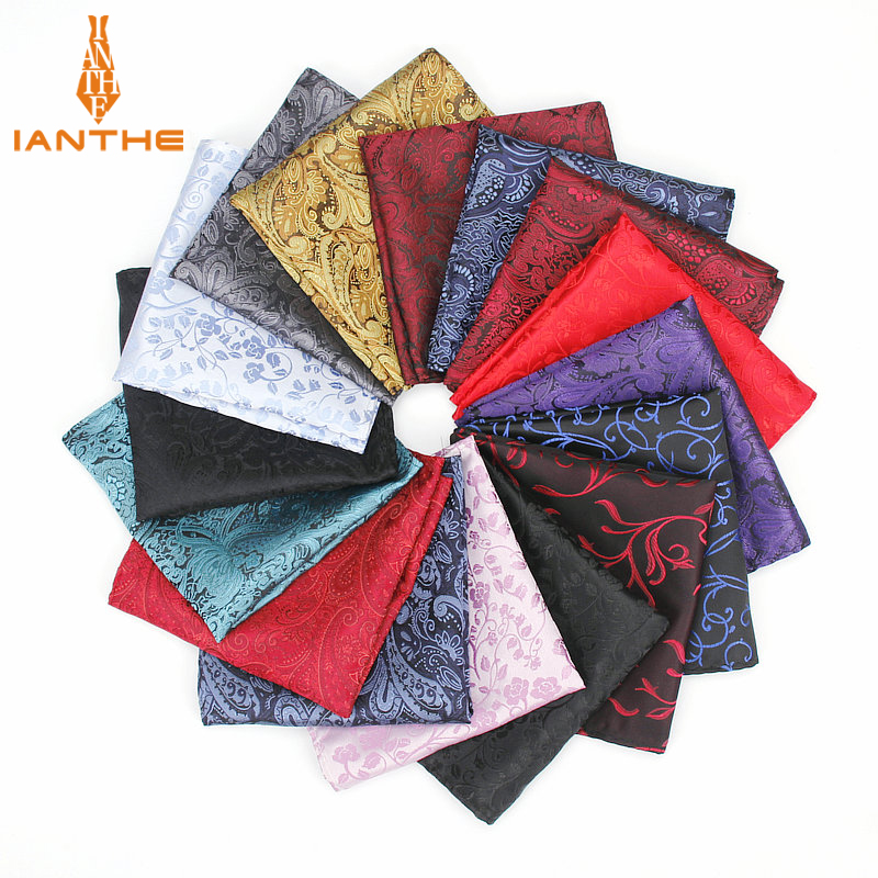 Men's Pocket Square Paisley Pattern Handkerchief Fashion Hanky For Men Business Suits Hankies Vintage Towel Accessories Navy