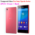 2Pcs=Front+Back Tempered Glass For Sony Xperia M4 Aqua M5 Z L36h Z1 Z2 Z3 Z4 Z5 Compact Mini Screen Protector Film Phone Cases